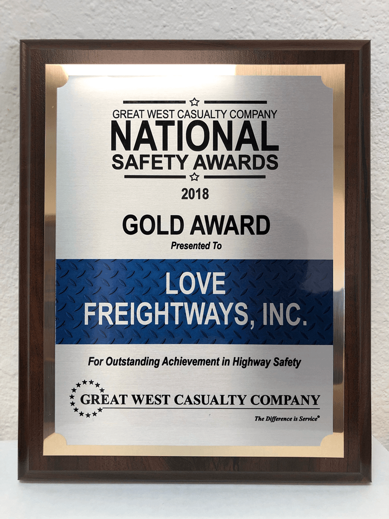 Love Freightways awarded for an Outstanding Achievement in Highway Safety